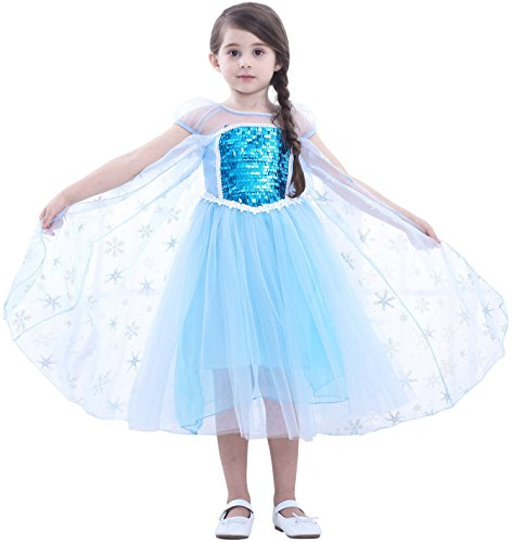 Cotrio Elsa Costume for Girls Theme Birthday Party Princess Dresses Clothes Toddler Kids Sequins Dress Snow Cape Cosplay Outfits Size 10 (9-10 Years, Blue, 140)