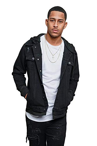 Victorious Detachable Hood Layered Look Distressed Denim Jacket DK140 - Black - X-Large - GG8C