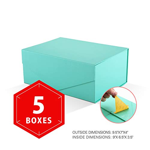 - PACKHOME Gift Boxes Rectangular 9.5x7x4 Inches, Bridesmaid Boxes Rectangle Collapsible Boxes with Magnetic Lid for Gift Packaging (Matte Turquoise with Embossing, 5 Boxes)