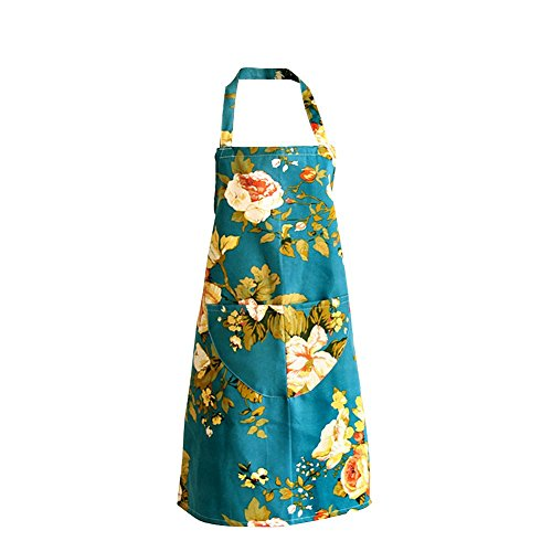Retro Fashion Pretty Young 2-pocket Chef's Apron, Light Blue/white Flowers (Light Blue/White Flowers) ()