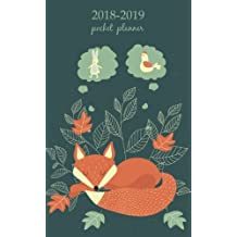 2018-2019 Pocket Planner: 2 Year Pocket Monthly Calenda Planner 4 x 6.5 inch Cute Funny Orange Sleep Fox.