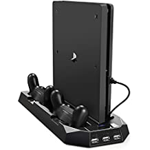 Pecham Vertical Stand for PS4 Slim / PS4 with Cooling Fan, Dual Controller Charger Station for Sony PlayStation 4 Game Console Dualshock 4 with 3 Extra USB HUB Port