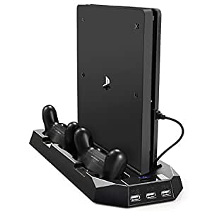 Pecham Vertical Stand for PS4 Slim / PS4 with Cooling Fan, Dual Controller Charger Station for Sony PlayStation 4 Game Console Dualshock 4 with 3 Extra USB HUB Port - Black