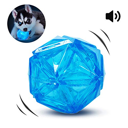 PEDOMUS Light up Dog Ball Squeaky Balls for Dogs Elastic Flash LED Dog Toy Balls Interactive Dog Toys Bounce-Activated