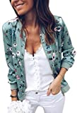 ECOWISH Women's Casual Floral Zip Up Bomber Jacket Coat Stand Collar Lightweight Short Outwear Tops Green XL