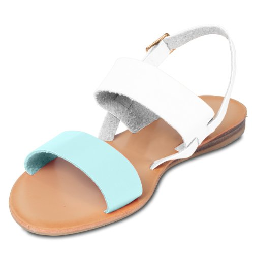 Ssa011 Caspar En Pour Bleu Plusieurs Bicolores Femme Coloris Sandales Clair Cuir sandalettes IxI5Tzqr