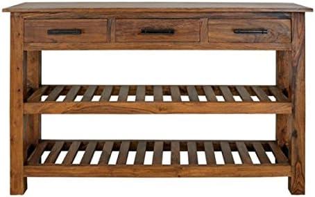 Consola de mesa rústica de madera maciza reciclada, moderna y ...