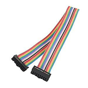 uxcell 2.54mm Pitch 16 Pin F/F IDC Connector Rainbow Color Ribbon Flat Cable