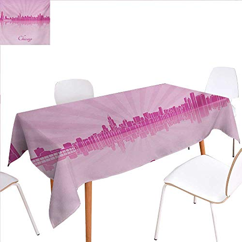 familytaste Chicago Skyline Rectangular Tablecloth United States Scenery in Soft Tones Urban Downtown Illustration Oblong Wrinkle Resistant Tablecloth 60