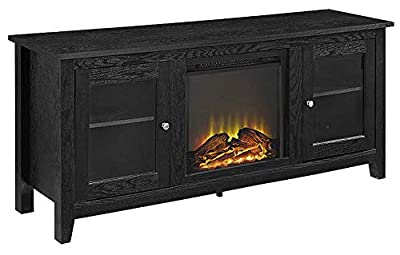 WE Furniture Wood TV Stand with Fireplace