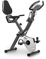 Fitfiu Fitness BEST-320 hometrainer, inklapbaar, met verstelbare rugleuning en elastische touwen, hartslagmeter en vliegwiel, 8 kg, 10 standen, donkergrijs