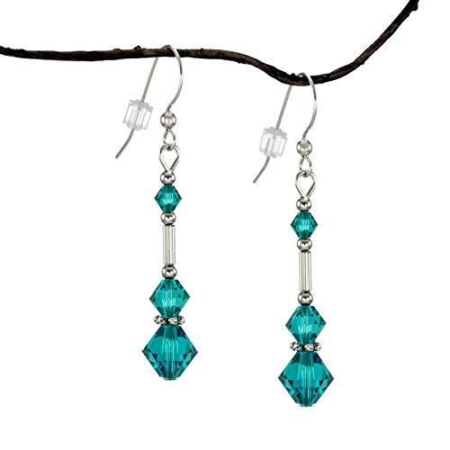 Blue Zircon Teal Swarovski Crystal Triple Bicone Earrings with Sterling Silver Earwires