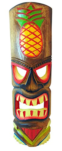 Westman Works Tiki Mask Wall Plaque Handcarved Wooden Wall Decor with Pineapple Design, 20 Inches Long Each