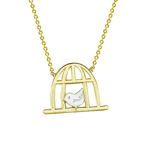 (Charming Story Shop Bird Cage Necklace (Gold-Plated-Brass))