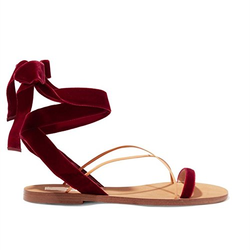 Moda Mujer verano sandalias confortables tacones altos,35 Rosa Red