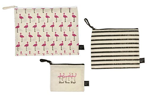 Midwest CBK Set of 3 Assorted Burlap Flamingo Print Cosmetic ()