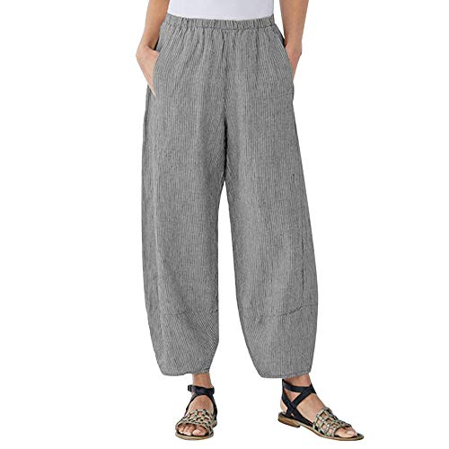 JOFOW Harem Pants for Women Solid Vertical Striped Bloomers Alaadin Trousers Causual Loose Comfy Linen Long Pant Plus Size (M,Black) (M,Black) ()