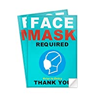 Decal Mask Required Sticker Plastic Safety Decals 10×7 Inch 2 Pack Indoor Public Business Store Signs