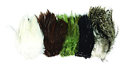 Creative Angler Saddle Hackle Feathers for Fly Tying/Tying Flies Variety Pack(Common Colors)