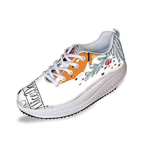 - Fox Stylish Shake Shoes,Cute Little Fox Character Colorful Geometric Spring Field Have a Nice Day Text Dots for Women,8