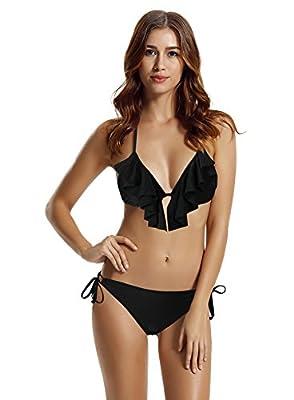 zeraca Women's Tie Side Bottom Ruffle Triangle Bikini Bathing Suits