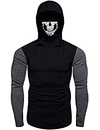 Men's Mask Hoody Pullover Hoodie Long Sleeve Slim Fit Hooded Sweater Bicycle Tops