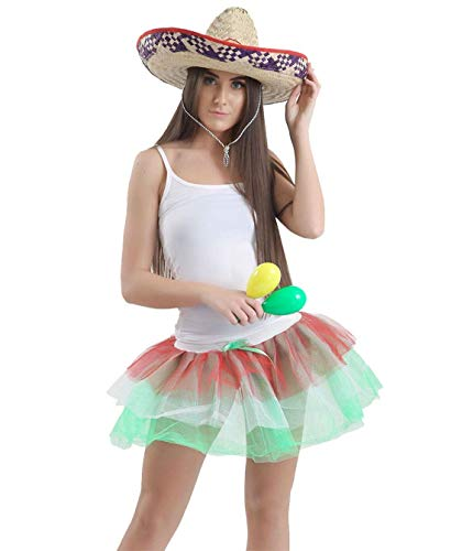 Ladies Stag Do Mexican Party Tutu Dress 4Pcs Set Womens Hawaiian Fancy Dress Party Costume US ()