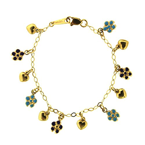 18K Yellow Gold Multi Color Enamel Teal and Purple Heart and Flower Bracelet by Amalia