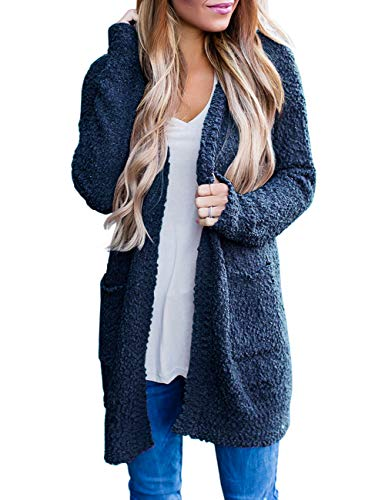 MEROKEETY Women's Long Sleeve Soft Chunky Knit Sweater Open Front Cardigan Outwear with Pockets Navy (Cheap Sweater Boots For Women)