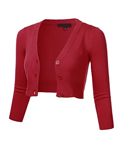 Women's Solid Button Down 3/4 Sleeve Cropped Bolero Cardigan Sweater RED 2X ()