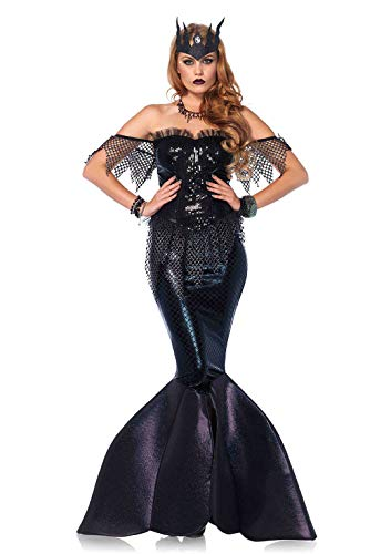 Sea Queen Sexy Mermaid Costumes - Leg Avenue Women's 2PC.Dark Water Siren, Black,