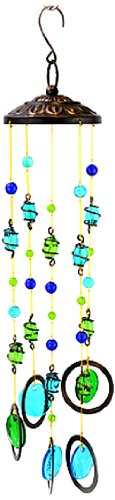Red Carpet Studios Glass Mobile Wind Chime, Lime and Turquoise Circles