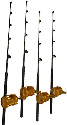 Combo (4) 80 Wide 2 Speed Reels and (4) 130-160 Lb. Blue Marlin Tournament Edition Fishing Rods