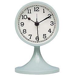 Danse Jupe 3 Alarm Clock Round Quartz Analog Desk Clock Vintage Silent Non Ticking Battery Operated for Bedroom Cyan