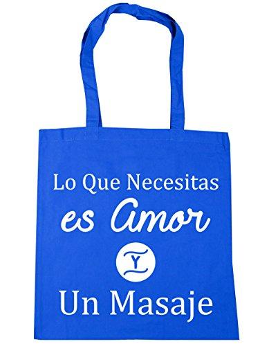 HippoWarehouse Lo Que Necesitas es Amor Y Un Masaje Bolso de Playa Bolsa Compra Con Asas para gimnasio 42cm x 38cm 10 litros capacidad Azul Aciano