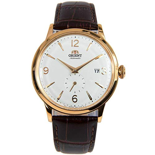 Orient Men's 'Bambino Small Seconds' Japanese Automatic Stainless Steel and Leather Dress Watch (Gold) -