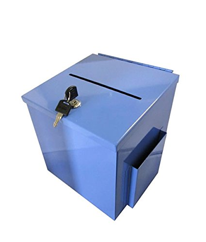 - Source One LLC Large Steel Donation Box, Suggestion Box with Side Pocket (Blue)