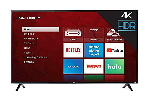 TCL 65S425 65-inch 4-Series 4K Ultra HD Roku Smart TV (2019 Model) Bundle with 37-70-inch Low Profile Wall Mount Kit, Deco Gear Wireless Keyboard and 6-Outlet Surge Adapter with Night Light