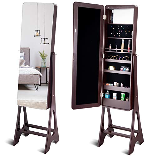 Giantex 15 LED Jewelry Cabinet Armoire with Magnetic Door, Mirror of Largest Size 14.5
