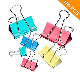 Binder Clips, 100PCS Binder Clips Assorted Sizes [2020 Upgrade] Large, Medium, Mini Binder Clips Combination, can use for Office, Home, School.