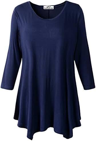 Zerdocean Women's Plus Size Modal 3/4 Sleeve Tunic Top Solid Basic Loose Shirt
