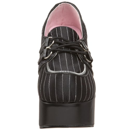 "41/2""P/F fangbanger Punk Lolita Blk/Wht Pinstriped Lace Up Zapatos Blk Pinstripes Satin"