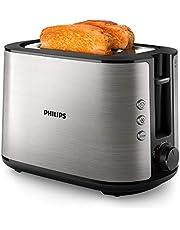 Philips HD2650/90 broodrooster, roestvrij staal, 950 W, 8 bruiningsniveaus, opzetstuk voor broodjes, ontdooi- en opwarmfunctie, stopknop, liftfunctie)