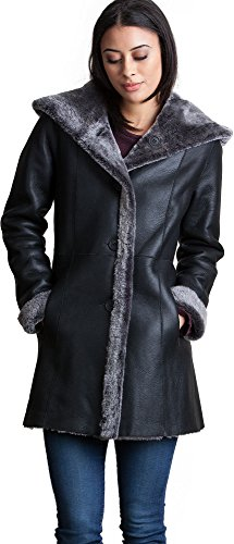 Black Leather Merino Shearling Jacket - Joanne Reversible Spanish Merino Sheepskin Coat