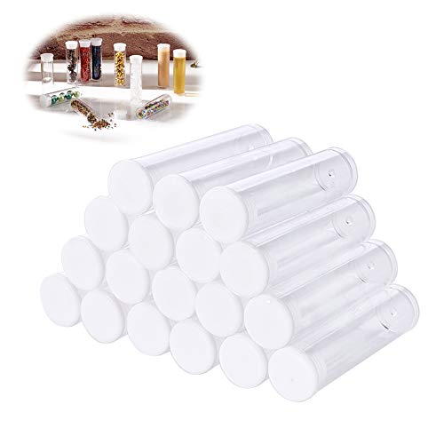 (Pandahall 100pcs Transparent Clear Tube Plastic Bead Containers Storage Boxes with Lids Test Bottles Organizers with Caps 2.17x0.59 Inch)