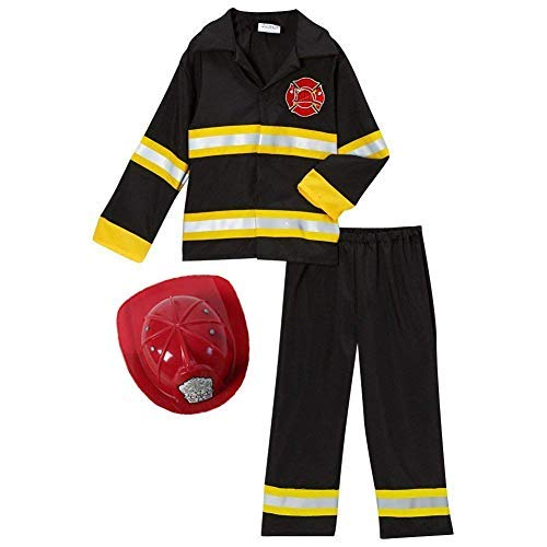 Storybook Wishes Fireman Fire Fighter Halloween Dressup Costume & Red Hat (6/8, Black/Red) ()