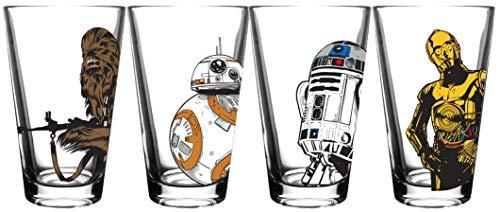 Star Wars Classic Pint Glass Set – 16 oz. Glass Capacity – Set of 4 Glasses – Classic Shape
