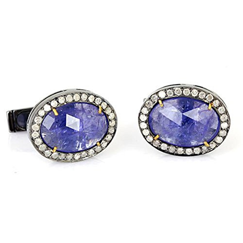 9.6ct Tanzanite Pave Diamond 14kt Gold 925 Sterling Silver Cufflinks Men Jewelry by Jaipur Handmade Jewelry