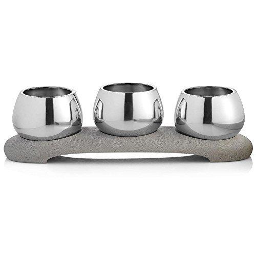 Nambé Mt0935 Forte Condiment Trio Centerpiece Bowl Gray