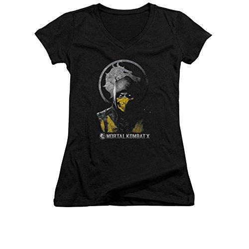 Mortal Kombat X Scorpion Bust Juniors V-Neck T-Shirt Large Black